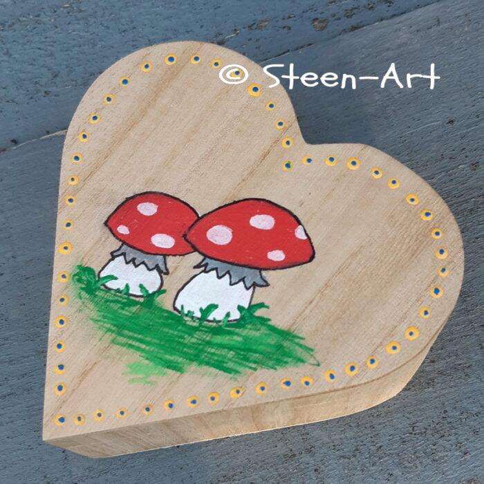 houten doosje paddenstoel