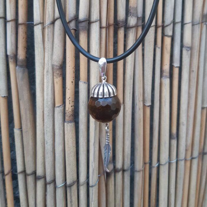 Zilveren hanger tijgeroog met veertje