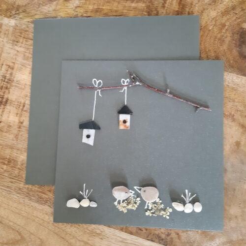 kaart vogelhuisje grijs