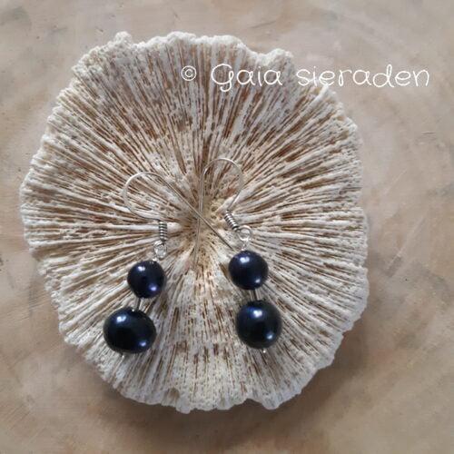 blauwe parel oorbellen dubb